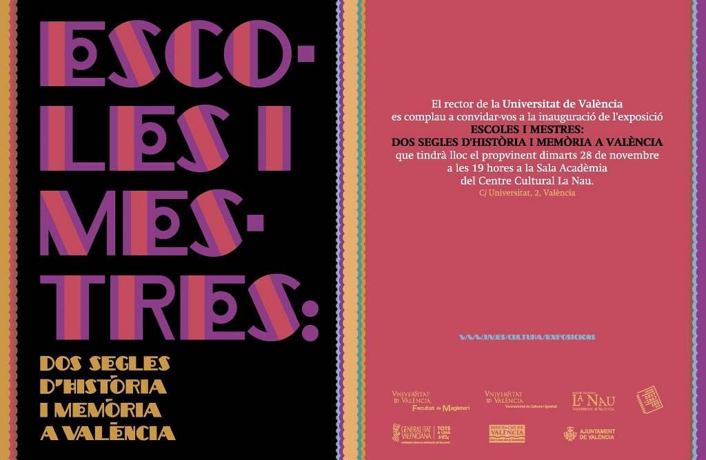 Exposicions – Universitat de València – Escoles i Mestres: dos segles d'història i memòria a València